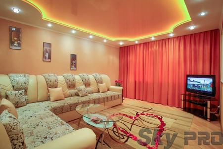 Потолок в зале с подсветкой фото