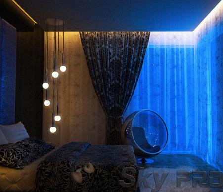 Светодиодная подсветка карнизов штор фото