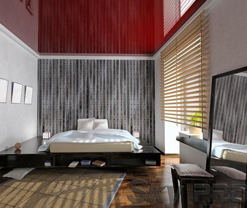 Установка натяжного потолка в спальне в Пскове